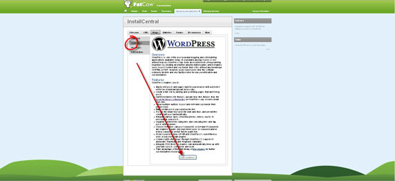 Установка WordPress на FatCow