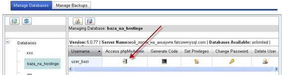 Вход в phpMyAdmin на американском хостинге