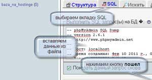 В phpMyAdmin на американском хостинге импортируем базу